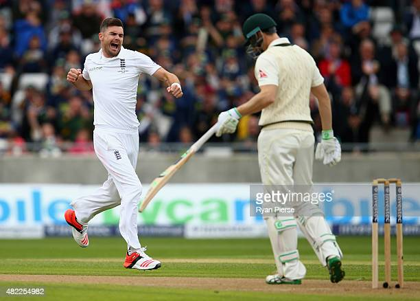 James Anderson of England celebrates after taking the wicket of Adam Voges of Australia during day one of the 3rd Investec Ashes Test match between...