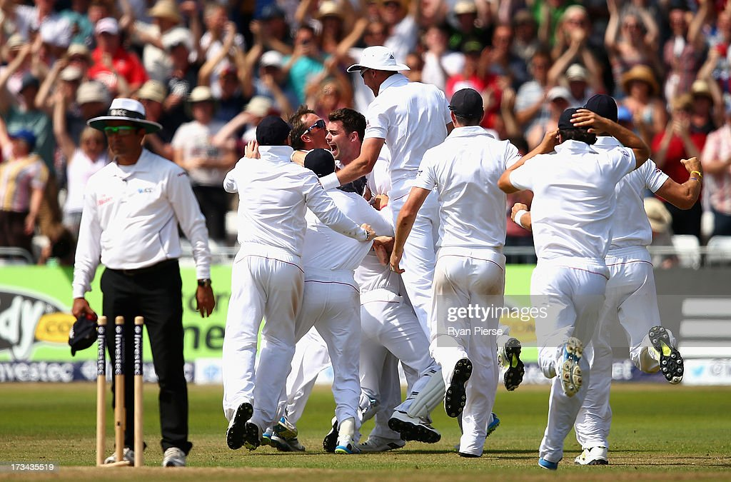 James Anderson of England celebrates after taking the wicket of Brad Haddin of Australia to claim victory during day five of the 1st Investec Ashes Test match between England and Australia at Trent Bridge Cricket Ground on July 14, 2013 in Nottingham, England.
