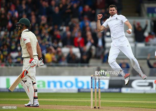 James Anderson of England celebrates after taking the wicket of Mitch Marsh of Australia during day one of the 3rd Investec Ashes Test match between...