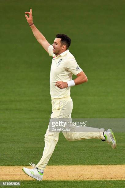 James Anderson of England celebrates after taking the wicket of Matthew Short of CA XI during day two of the Four Day Tour match between the Cricket...
