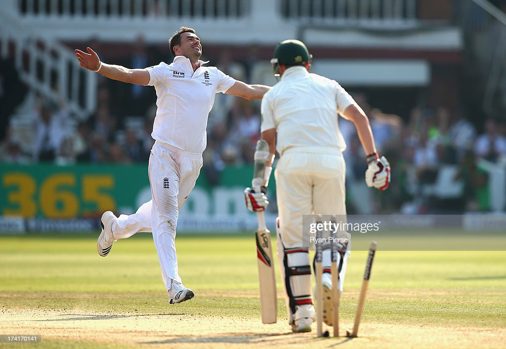 James Anderson of England celebrates after taking the wicket of Peter Siddle of Australia during day four of the 2nd Investec Ashes Test match between England and Australia at Lord's Cricket Ground on July 21, 2013 in London, England.