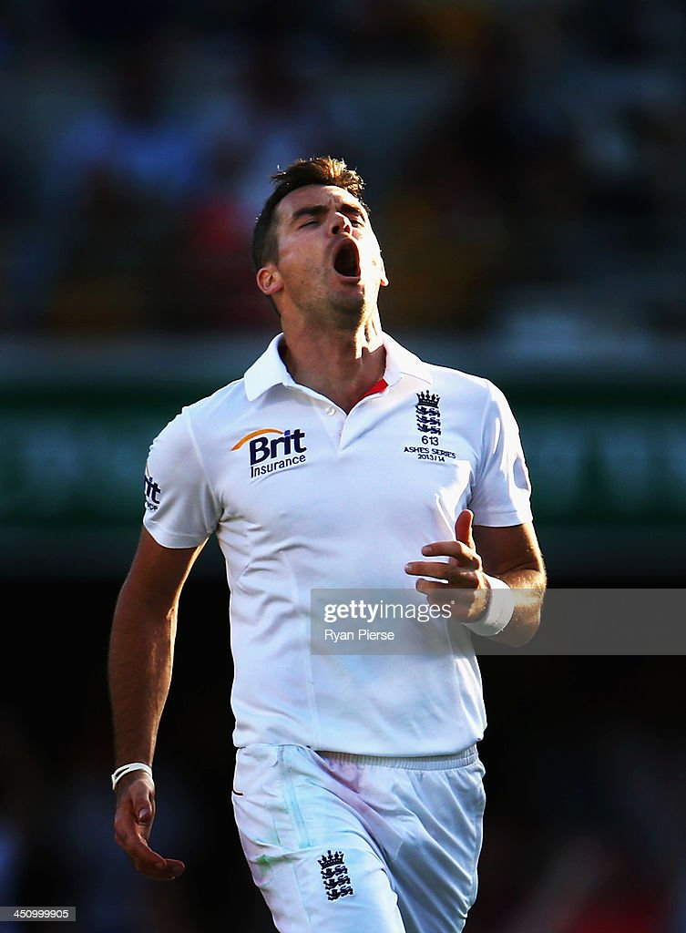 James Anderson of England celebrates after taking the wicket of Peter Siddle of Australia during day one of the First Ashes Test match between Australia and England at The Gabba on November 21, 2013 in Brisbane, Australia.