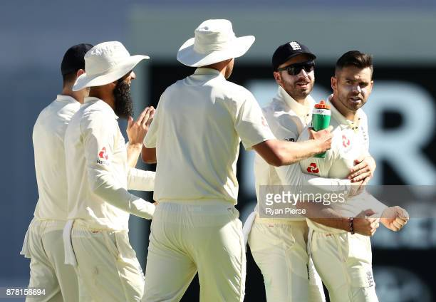 James Anderson of England celebrates after taking the wicket of Peter Handscomb of Australia during day two of the First Test Match of the 2017/18...