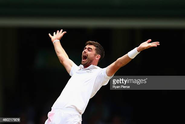 James Anderson of England celebrates after taking the wicket of Shane Watson of Australia during day one of the Fifth Ashes Test match between...