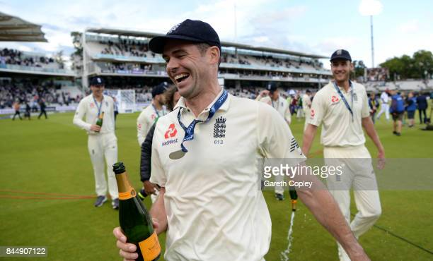 James Anderson of England celebrates after winning the 3rd Investec Test match between England and the West Indies at Lord's Cricket Ground on...