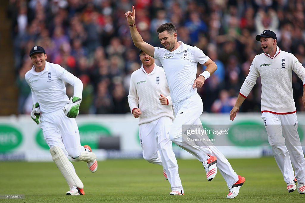 <a gi-track='captionPersonalityLinkClicked' href=/galleries/search?phrase=James+Anderson+-+Cricket+Player&family=editorial&specificpeople=6920305 ng-click='$event.stopPropagation()'>James Anderson</a> of England celebrates bowling Peter Nevill of Australia during day one of the 3rd Investec Ashes Test match between England and Australia at Edgbaston on July 29, 2015 in Birmingham, United Kingdom.