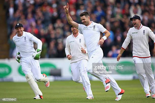 James Anderson of England celebrates bowling Peter Nevill of Australia during day one of the 3rd Investec Ashes Test match between England and...