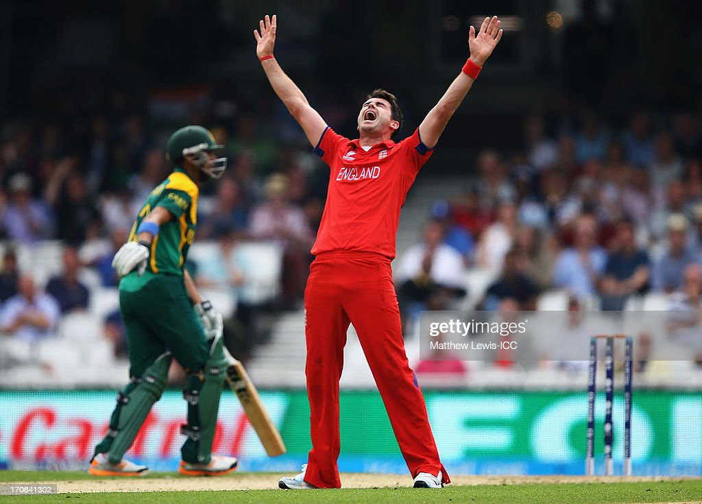 James Anderson of England celebrates bowling <a gi-track='captionPersonalityLinkClicked' href=/galleries/search?phrase=Robin+Peterson&family=editorial&specificpeople=843359 ng-click='$event.stopPropagation()'>Robin Peterson</a> of South Africa for LBW during the ICC Champions Trophy Semi Final match between England and South Africa at The Kia Oval on June 19, 2013 in London, England.