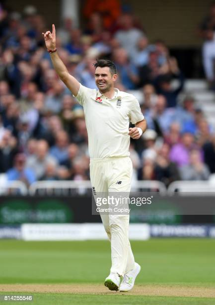 James Anderson of England celebrates dismissing Dean Elgar of South Africa during day one of the 2nd Investec Test match between England and South...