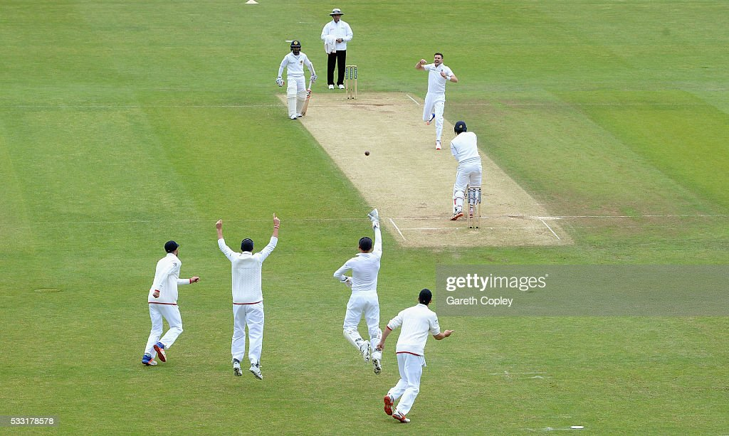 James Anderson of England celebrates dismissing Dimuth Karunaratne of Sri Lanka during day three of the 1st Investec Test match at Headingley on May 20, 2016 in Leeds, England.