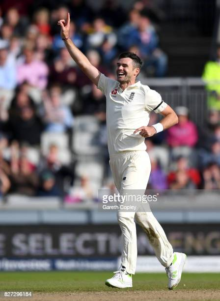 James Anderson of England celebrates dismissing Kagiso Rabada of South Africa during day four of the 4th Investec Test match between England and...