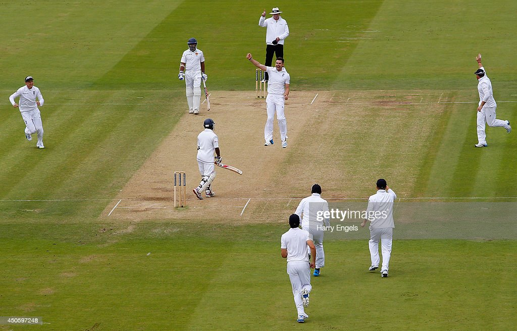 James Anderson of England celebrates dismissing Kaushal Silva of Sri Lanka during day three of the 1st Investec Test match between England and Sri Lanka at Lord's Cricket Ground on June 14, 2014 in London, England.