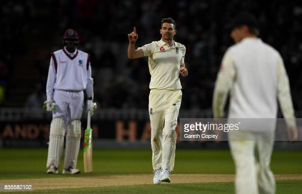 James Anderson of England celebrates dismissing Kemar Roach of the West Indies during day three of the 1st Investec Test between England and the West...