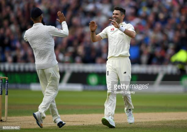 James Anderson of England celebrates dismissing Kieran Powell of the West Indies during day three of the 1st Investec Test between England and the...
