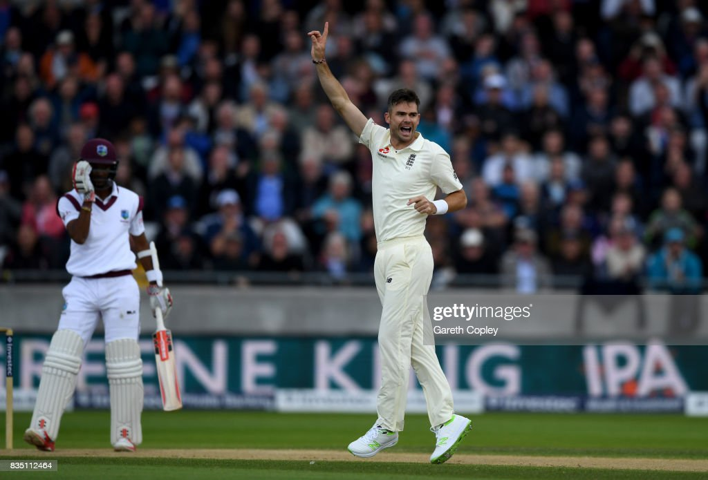 James Anderson of England celebrates dismissing Kraigg Brathwaite of the West Indies during day two of the 1st Investec Test match between England and West Indies at Edgbaston on August 18, 2017 in Birmingham, England.