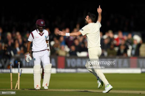 James Anderson of England celebrates dismissing Kraigg Brathwaite of the West Indies to claim his 500th test wicket during day two of the 3rd...