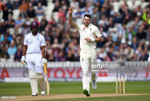 James Anderson of England celebrates dismissing Kyle Hope of the West Indies during day three of the 1st Investec Test between England and the West...