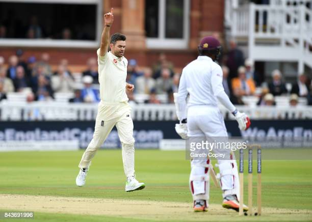 James Anderson of England celebrates dismissing Kyle Hope of the West Indies during day one of the 3rd Investec Test match between England and the...