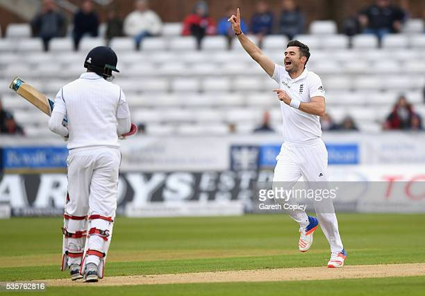 James Anderson of England celebrates dismissing Milinda Siriwardana of Sri Lanka during day four of the 2nd Investec Test match between England and...