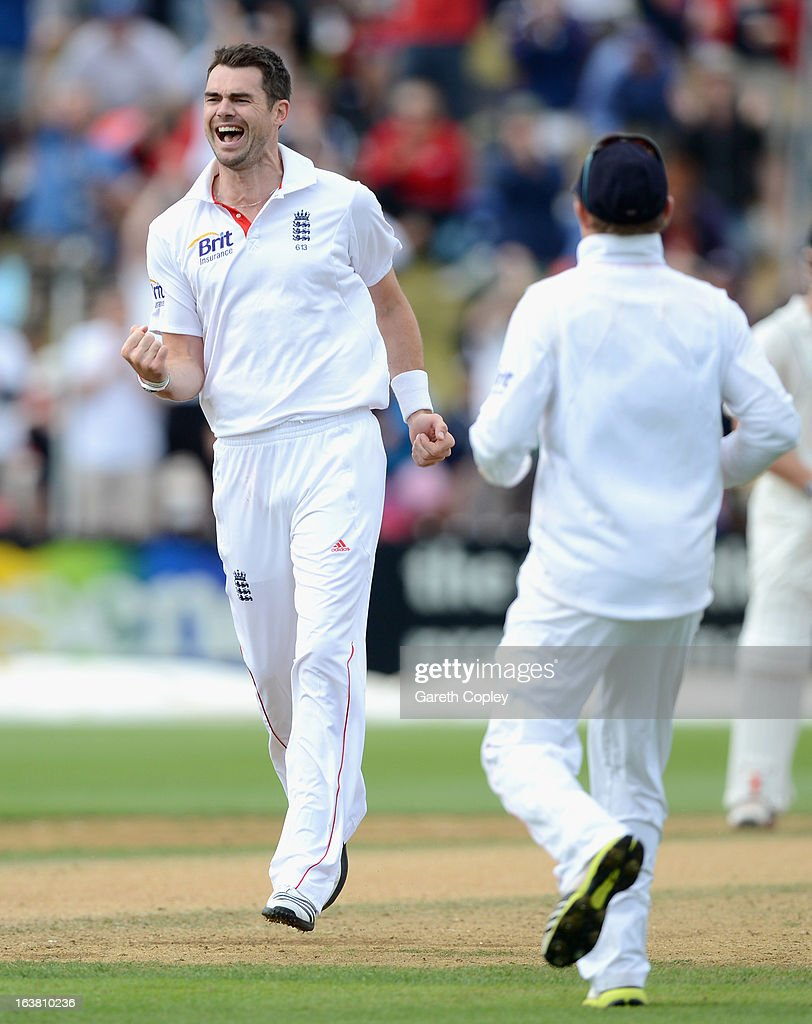 James Anderson of England celebrates dismissing Peter Fulton of New Zealand during day four of the second Test match between New Zealand and England at Basin Reserve on March 17, 2013 in Wellington, New Zealand.