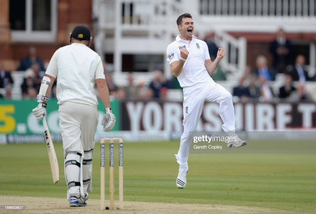James Anderson of England celebrates dismissing Peter Fulton of New Zealand to take his 300th test match wicket during day two of 1st Investec Test match between England and New Zealand at Lord's Cricket Ground on May 17, 2013 in London, England.