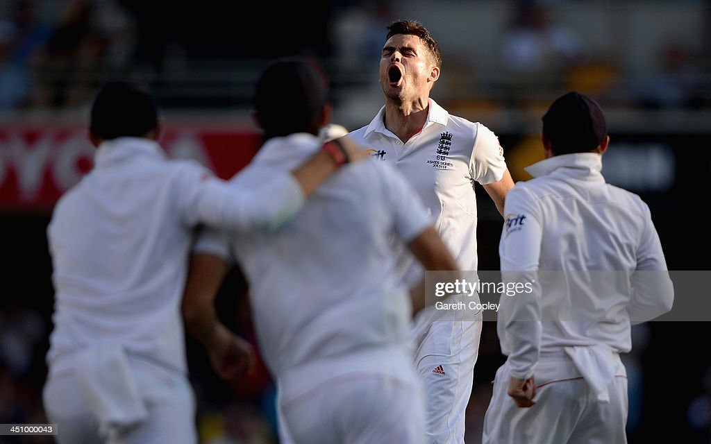 James Anderson of England celebrates dismissing Peter Siddle of Australia during day one of the First Ashes Test match between Australia and England at The Gabba on November 21, 2013 in Brisbane, Australia.