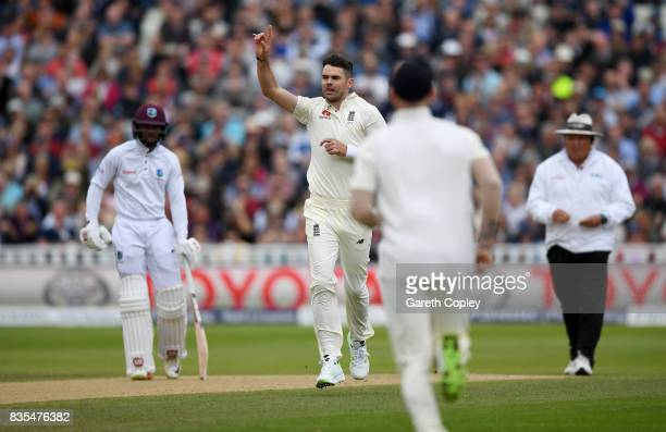 James Anderson of England celebrates dismissing Roston Chase of the West Indies during day three of the 1st Investec Test between England and the...