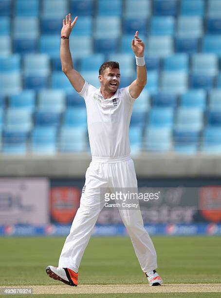 James Anderson of England celebrates dismissing Shan Masood of Pakistan during the 2nd test match between Pakistan and England at Dubai Cricket...