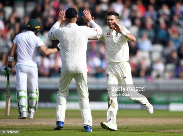 James Anderson of England celebrates dismissing South Africa captain Faf du Plessis during day four of the 4th Investec Test match between England...
