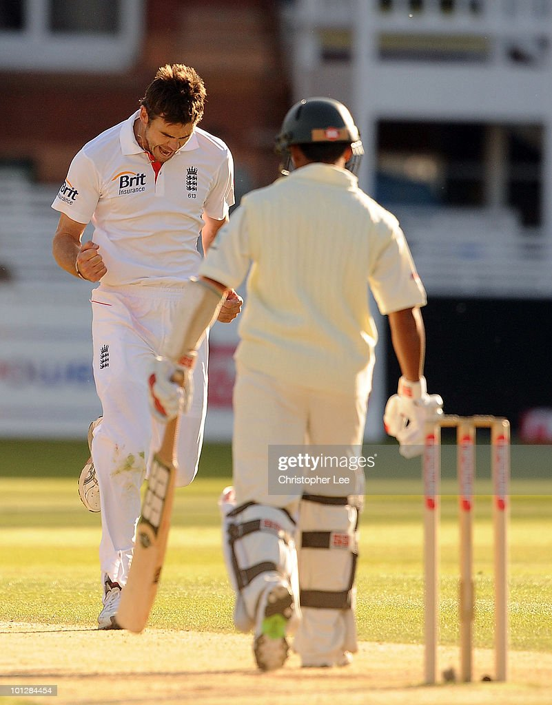 James Anderson of England celebrates getting the wicket of Mohammed Ashraful of Bangladesh during day 4 of the 1st npower Test match between England and Bangladesh at Lords on May 30, 2010 in London, England.