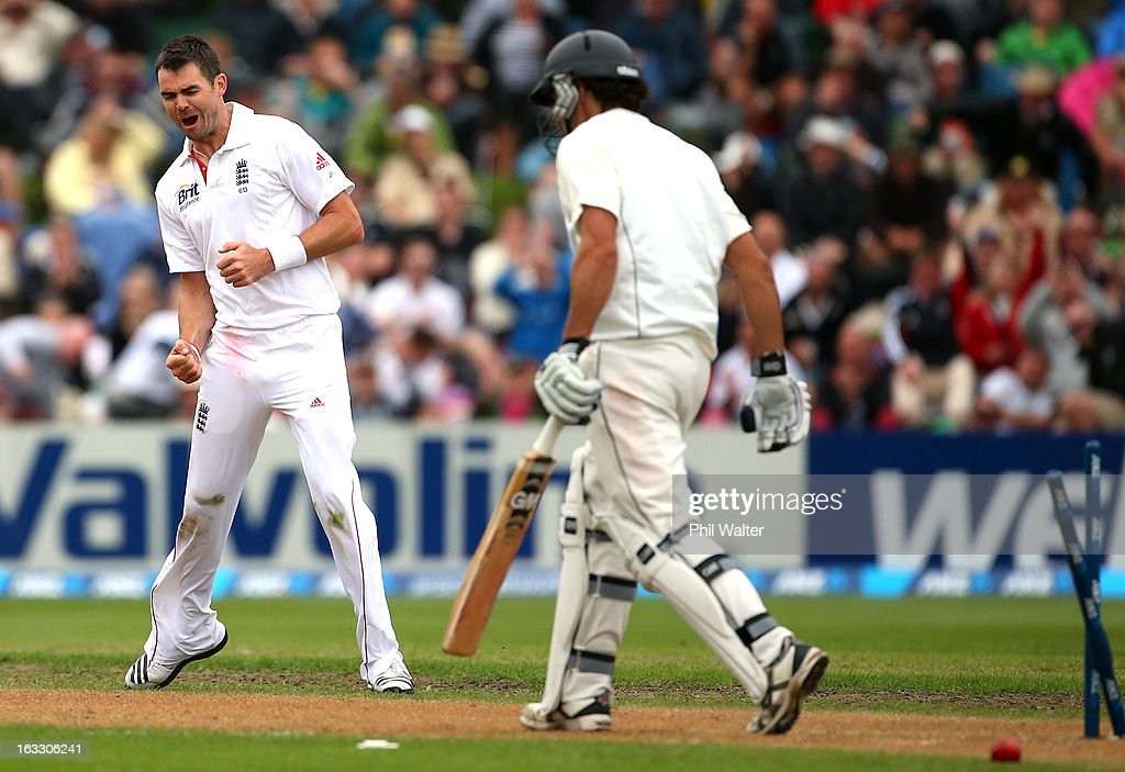 James Anderson of England celebrates his wicket of Dean Brownlie of New Zealand during day three of the First Test match between New Zealand and England at University Oval on March 8, 2013 in Dunedin, New Zealand.