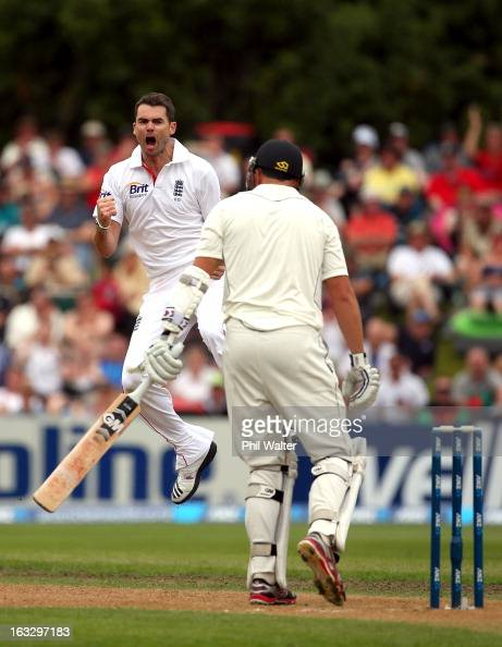 James Anderson of England celebrates his wicket of Peter Fulton of New Zealand during day three of the First Test match between New Zealand and...