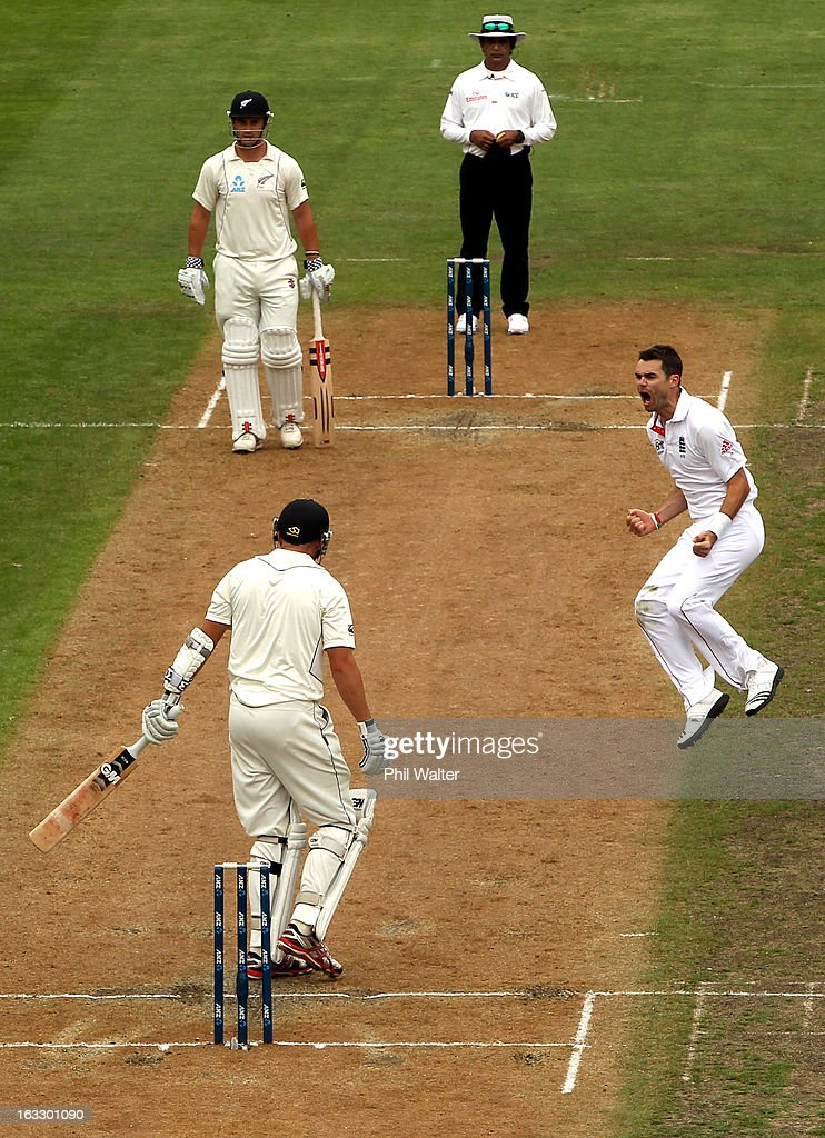 James Anderson of England celebrates his wicket of <a gi-track='captionPersonalityLinkClicked' href=/galleries/search?phrase=Peter+Fulton&family=editorial&specificpeople=658568 ng-click='$event.stopPropagation()'>Peter Fulton</a> of New Zealand during day three of the First Test match between New Zealand and England at University Oval on March 8, 2013 in Dunedin, New Zealand.