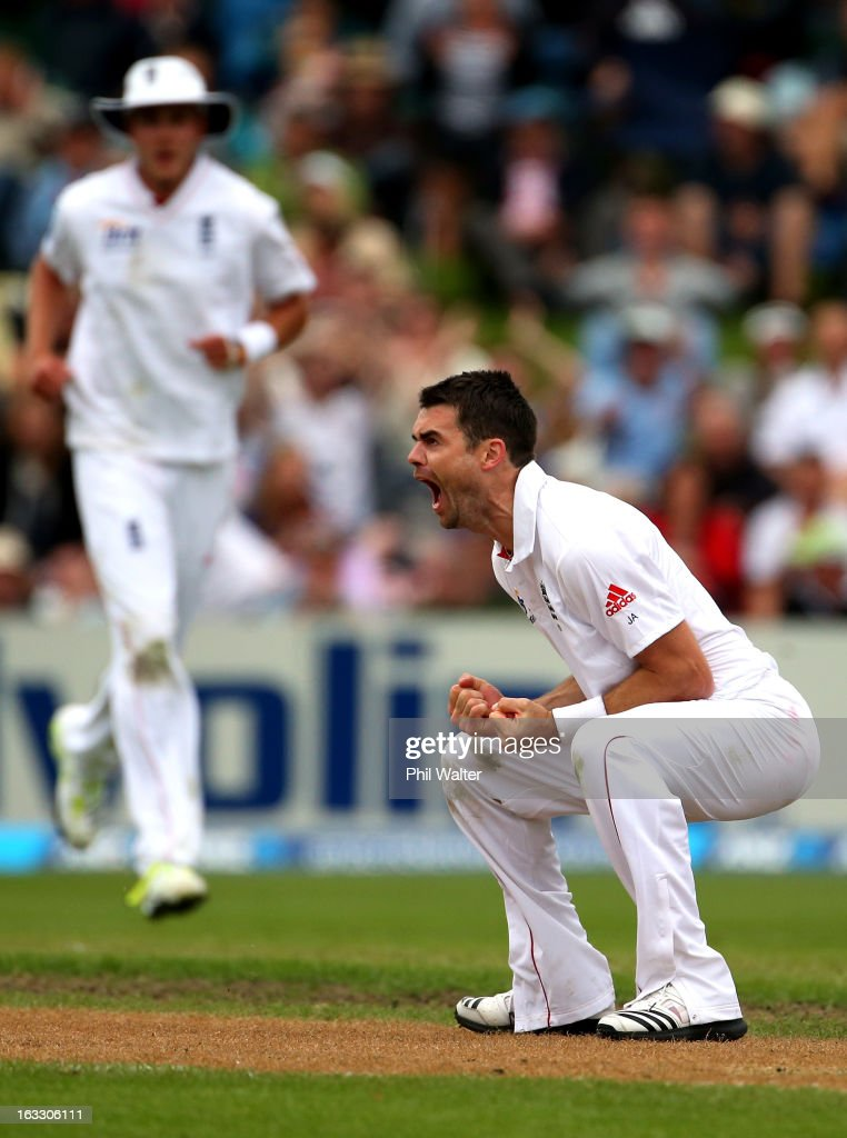 James Anderson of England celebrates his wicket of Ross Taylor of New Zealand during day three of the First Test match between New Zealand and England at University Oval on March 8, 2013 in Dunedin, New Zealand.
