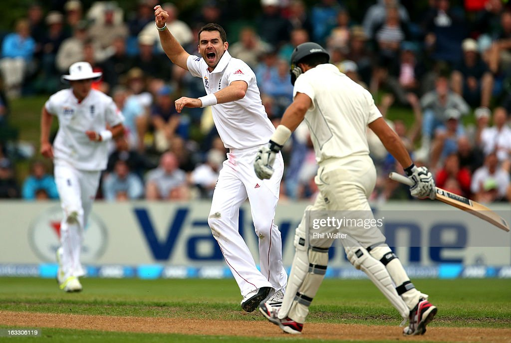 James Anderson of England celebrates his wicket of <a gi-track='captionPersonalityLinkClicked' href=/galleries/search?phrase=Ross+Taylor&family=editorial&specificpeople=845922 ng-click='$event.stopPropagation()'>Ross Taylor</a> of New Zealand (R) during day three of the First Test match between New Zealand and England at University Oval on March 8, 2013 in Dunedin, New Zealand.