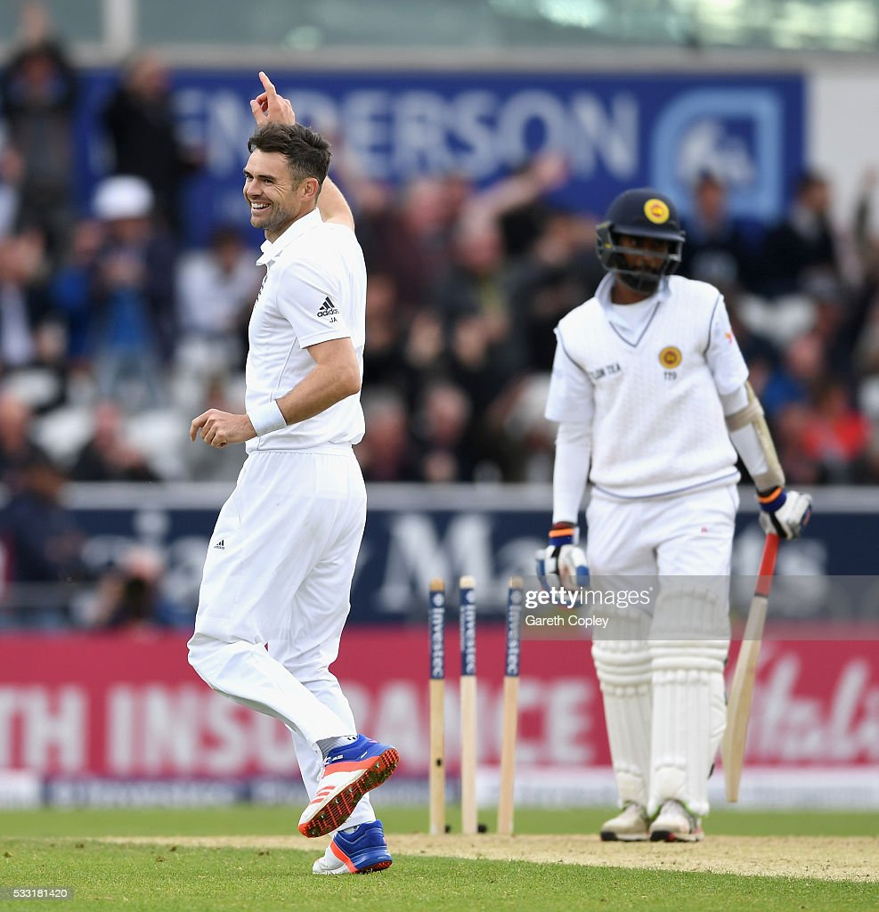 James Anderson of England celebrates taking the final wicket of Nuwan Pradeep of Sri Lanka to win the 1st Investec Test match at Headingley on May 20, 2016 in Leeds, England.