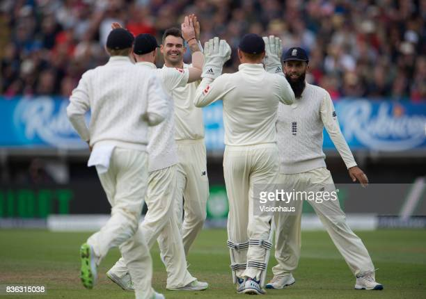 James Anderson of England celebrates taking the wicket of Kieran Powell of West Indies during day three of the 1st Investec test match between...