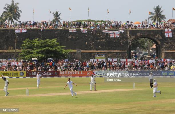 James Anderson of England celebrates taking the wicket of Kumar Sangakkara of Sri Lanka during day one of the 1st Test Match between Sri Lanka and...
