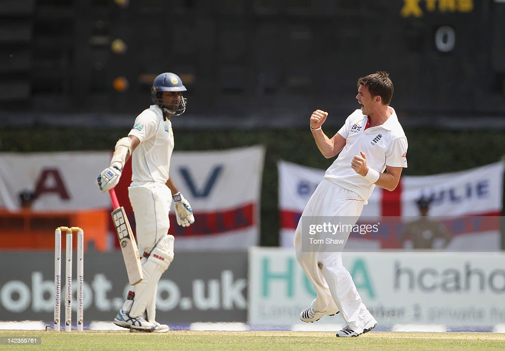 James Anderson of England celebrates taking the wicket of <a gi-track='captionPersonalityLinkClicked' href=/galleries/search?phrase=Lahiru+Thirimanne&family=editorial&specificpeople=5946377 ng-click='$event.stopPropagation()'>Lahiru Thirimanne</a> of Sri Lanka during day1 of the second test match between Sri Lanka and England at the P Sara Stadium on April 3, 2012 in Colombo, Sri Lanka.