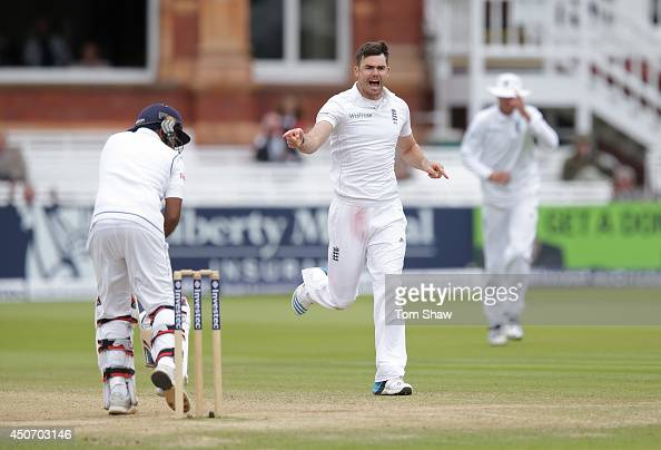 James Anderson of England celebrates taking the wicket of Mahela Jayawardene of Sri Lanka during day five of 1st Investec Test match between England...