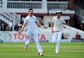 James Anderson of England celebrates taking the wicket of Martin Guptill of New Zealand during day five of the 1st Investec Test Match between...