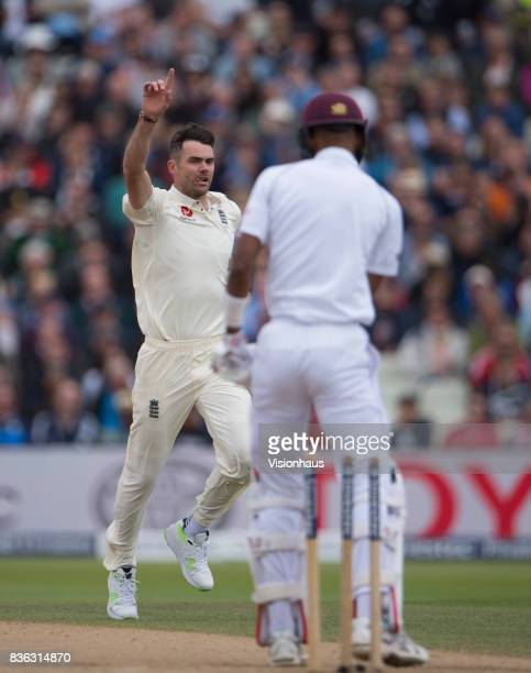 James Anderson of England celebrates taking the wicket of Roston Chase of West Indies during day three of the 1st Investec test match between England...