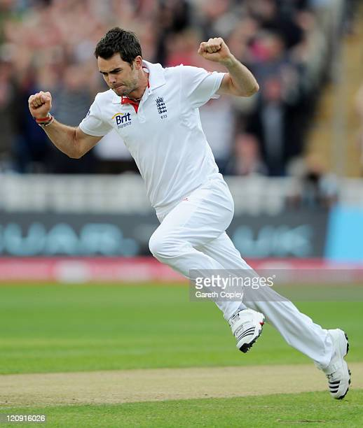 James Anderson of England celebrates taking the wicket of Virender Sehwag of India during day three of the 3rd npower Test at Edgbaston on August 12...