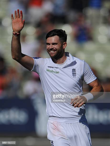 James Anderson of England celebrates taking the wicket of Yasir Shah of Pakistan during day five of the third Investec test match between England and...