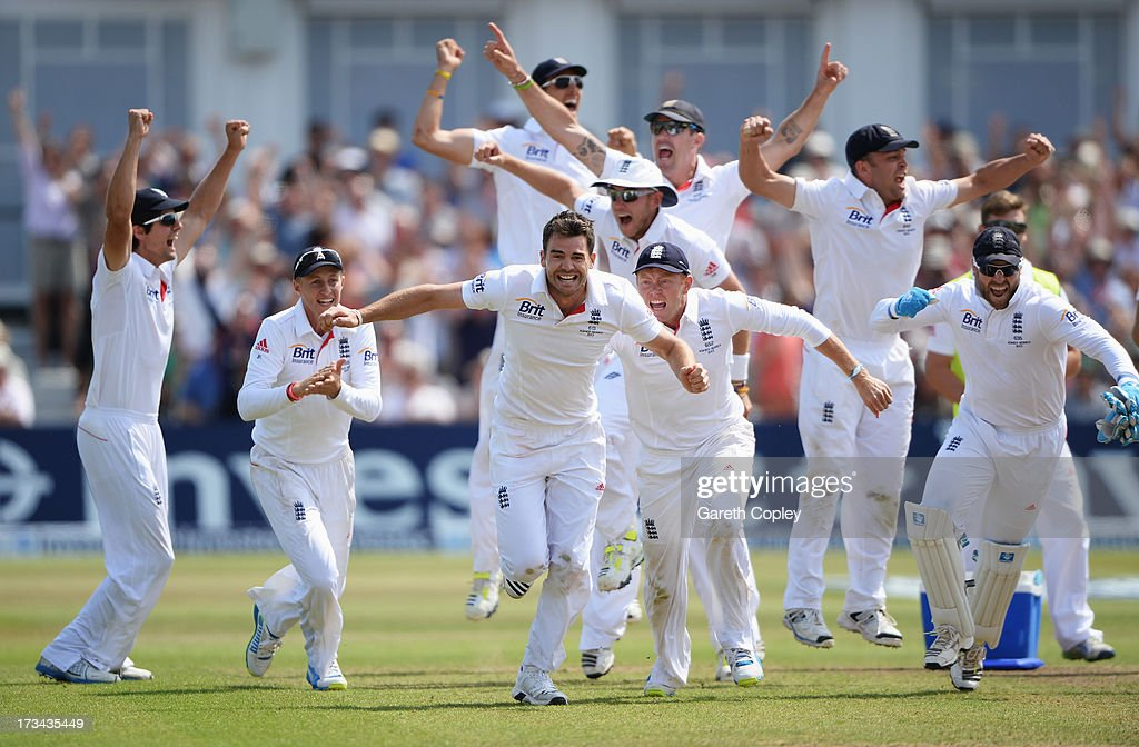 <a gi-track='captionPersonalityLinkClicked' href=/galleries/search?phrase=James+Anderson+-+Cricket&family=editorial&specificpeople=6920305 ng-click='$event.stopPropagation()'>James Anderson</a> of England celebrates the final wicket of Brad Haddin of Australia and victory with team mates during day five of the 1st Investec Ashes Test match between England and Australia at Trent Bridge Cricket Ground on July 14, 2013 in Nottingham, England.