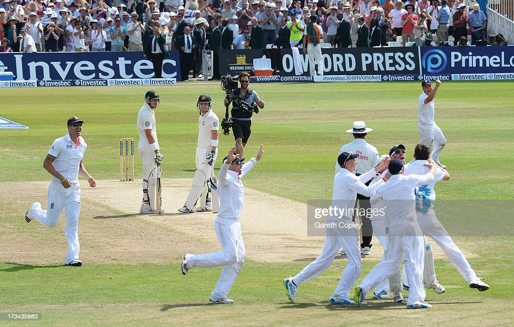 James Anderson of England celebrates the final wicket of <a gi-track='captionPersonalityLinkClicked' href=/galleries/search?phrase=Brad+Haddin&family=editorial&specificpeople=193800 ng-click='$event.stopPropagation()'>Brad Haddin</a> of Australia and victory with team mates during day five of the 1st Investec Ashes Test match between England and Australia at Trent Bridge Cricket Ground on July 14, 2013 in Nottingham, England.