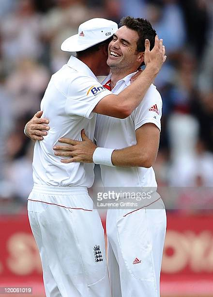 James Anderson of England celebrates the wicket of Abhinav Mukund of India during the second npower Test match between England and India at Trent...