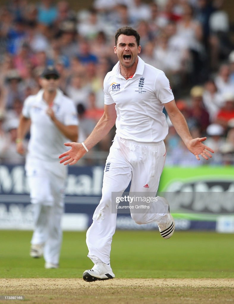 James Anderson of England celebrates the wicket of Chris Rogers of Australia during day four of the 1st Investec Ashes Test match between England and Australia at Trent Bridge Cricket Ground on July 13, 2013 in Nottingham, England.