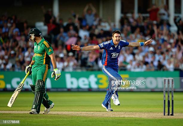 James Anderson of England celebrates the wicket of Dean Elgar of South Africa during the 5th NatWest Series ODI match England and South Africa at...