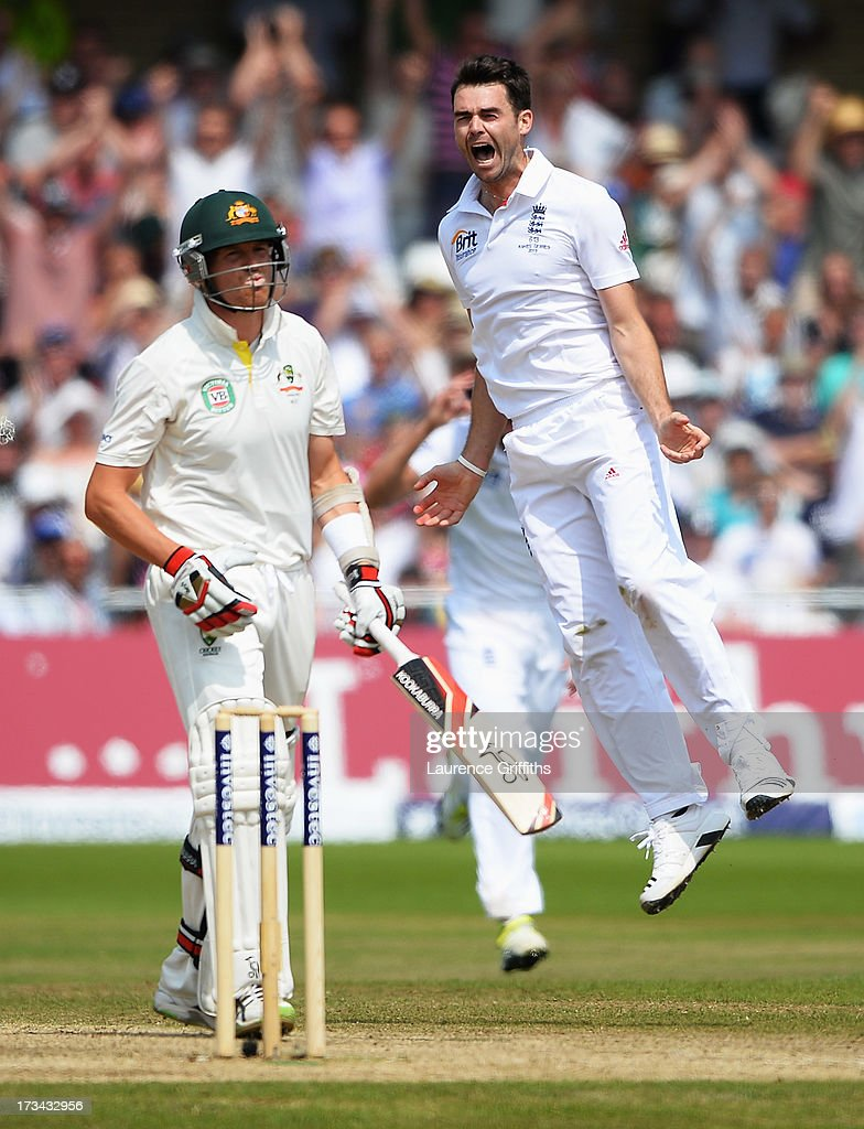 James Anderson of England celebrates the wicket of <a gi-track='captionPersonalityLinkClicked' href=/galleries/search?phrase=Peter+Siddle&family=editorial&specificpeople=2104718 ng-click='$event.stopPropagation()'>Peter Siddle</a> of Australia during day five of the 1st Investec Ashes Test match between England and Australia at Trent Bridge Cricket Ground on July 14, 2013 in Nottingham, England.